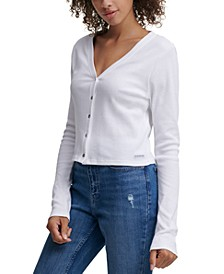 Button-Front Cropped Cotton Top
