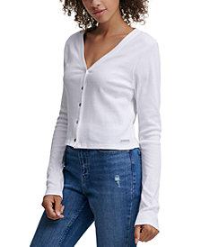 Calvin Klein Jeans Button-Front Cropped Cotton Top