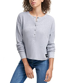 Henley Waffle-Knit Top