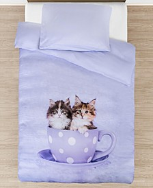 Teakup Kitties Comforter with Removable Cover Toddler Size 3 Piece Bedding Set