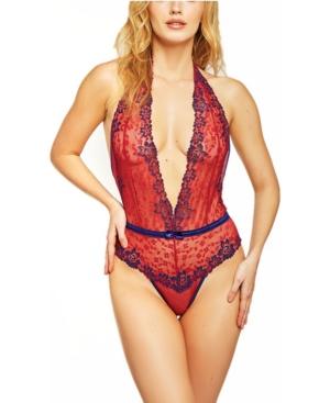 Women's Woven Floral Plunge Halter Teddy Bodysuit
