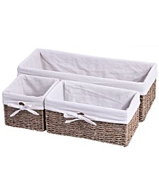 Seagrass Shelf Storage Baskets with Lining, Set of 3