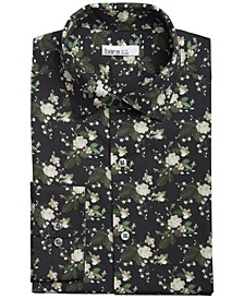 Men's Organic Cotton Painted Poppy-Print Slim Fit Dress Shirt, Created for Macy's