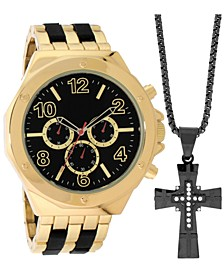 INC Men's Two-Tone Bracelet Watch 55mm Gift Set, Created for Macy's