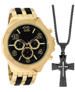 INC INTERNATIONAL CONCEPTS INC MEN'S TWO-TONE BRACELET WATCH 55MM GIFT SET, CREATED FOR MACY'S