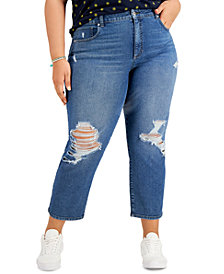 Style & Co Plus Size Distressed Mom Jeans, Created for Macy's