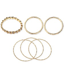 Gold-Tone 6-Pc. Set Crystal, Bamboo & Textured Bangle Bracelets, Created for Macy's