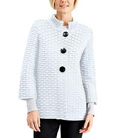 Petite Textured Mandarin-Collar Cardigan, Created for Macy's