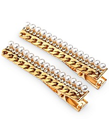 2-Pc. Gold-Tone Pavé, Imitation Pearl & Chain-Link Hair Clip Set, Created for Macy's