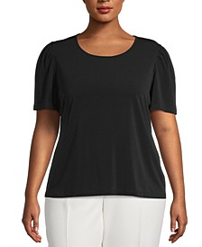 Plus Size Puff-Sleeve Blouse, Created for Macy's