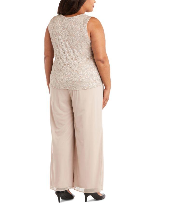 R & M Richards Plus Size 3-Pc. Jacket, Lace Top & Pants Set & Reviews - Dresses - Plus Sizes - Macy's