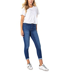 Juniors' Roll Cuff Skinny Jeans