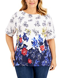 Plus Size Elbow-Sleeve Printed Top, Created for Macy's