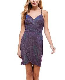 Juniors' V-Neck Glitter Bodycon Dress
