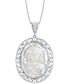 """Mother-Of-Pearl & Cultured Freshwater Pearl Cameo 18"""" Pendant Necklace in Sterling Silver"""