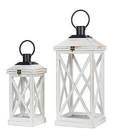 Set of 2 Wash White Farmhouse Modern Wooden Lanterns