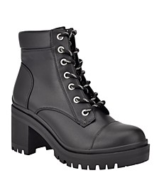 Women's Quenton Lace-Up Lug Sole Heeled Combat Booties