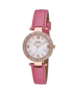 Women's Pink Polyurethane Strap Glitz Mop Dial Watch