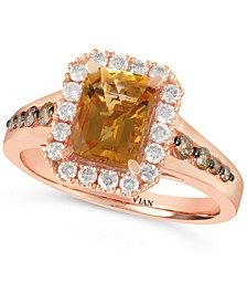 Cinnamon Citrine (1-1/3 ct. t.w.) & Diamond (1/2 ct. t.w.) Ring in 14k Rose Gold