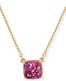 "Glitter Crystal Square Pendant Necklace, 17"" + 3"" extender"