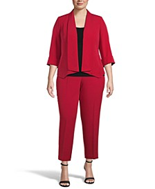 Plus Size Open-Front Blazer and Slim-Fit Pants