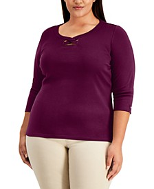 Plus Size Cotton Twisted Scoop-Neck Top, Created for Macy's