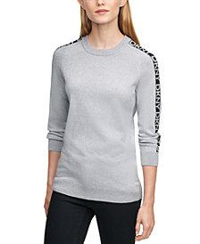 DKNY Crewneck Logo-Sleeve Sweater