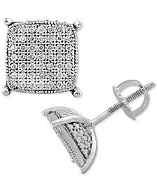 Men's Diamond Cushion Cluster Stud Earrings (1/4 ct. t.w.) in Sterling Silver