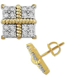 Men's Diamond Square Clusters Stud Earrings (1/4 ct. t.w.) in 10k Gold-Plated Sterling Silver