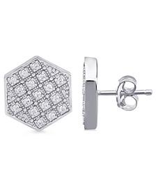 Men's Diamond Hexagon Cluster Stud Earrings (1/2 ct. t.w.) in Sterling Silver