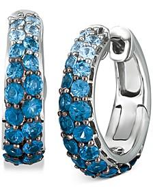 "Ombré Sapphire (2-1/10 ct. t.w.) & White Sapphire (1/4 ct. t.w.) Small Hoop Earrings in 14k White Gold, 0.7"""