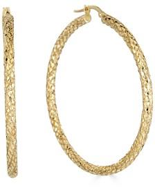 Medium Snake Texture Hoop Earrings in 10k Gold