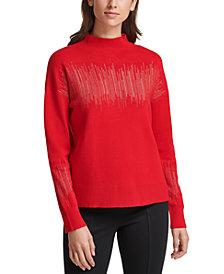 Calvin Klein Metallic-Stripe Mock-Neck Sweater