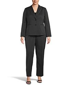 Plus Size Two-Button Pinstripe Pantsuit