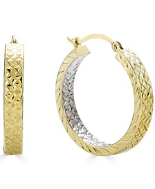 Small Two-Tone In & Out Hoop Earrings in 14k Gold & White Gold