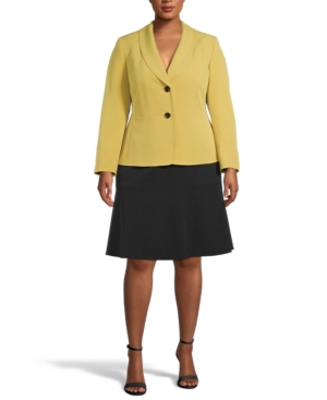 Plus Size Two-Button Shawl-Collar Skirt Suit