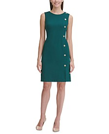 Button-Detail Sheath Dress