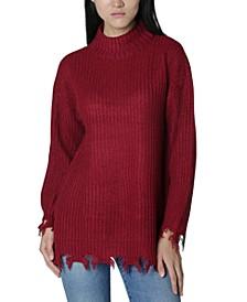 Juniors' Destructed Mock-Neck Tunic Sweater