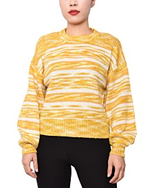 Juniors' Striped Marled Pullover Sweater
