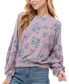 Gypsies & Moondust Juniors' Printed Puff-Sleeved Top