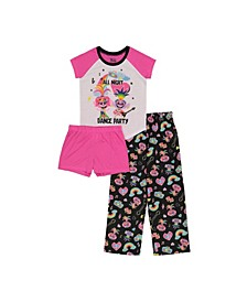 Trolls Little Girls 3 Piece Pajama Set