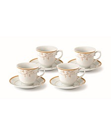 Floral 8 Piece 8oz Tea or Coffee Cup and Saucer Set, Service for 4