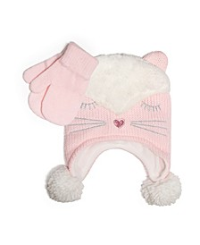 Big Girls Knitted Trapper Hat and Mittens Set, 2 Piece Set