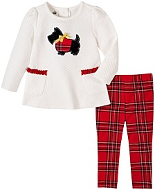 2 Piece Little Girls Quilted Scottie Dog Tunic with Plaid Legging Set