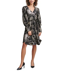 Foil-Printed Belted Dress