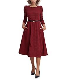 Belted Houndstooth A-Line Dress
