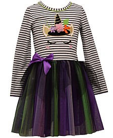 Toddler Girls Striped Witch Unicorn Tutu Dress