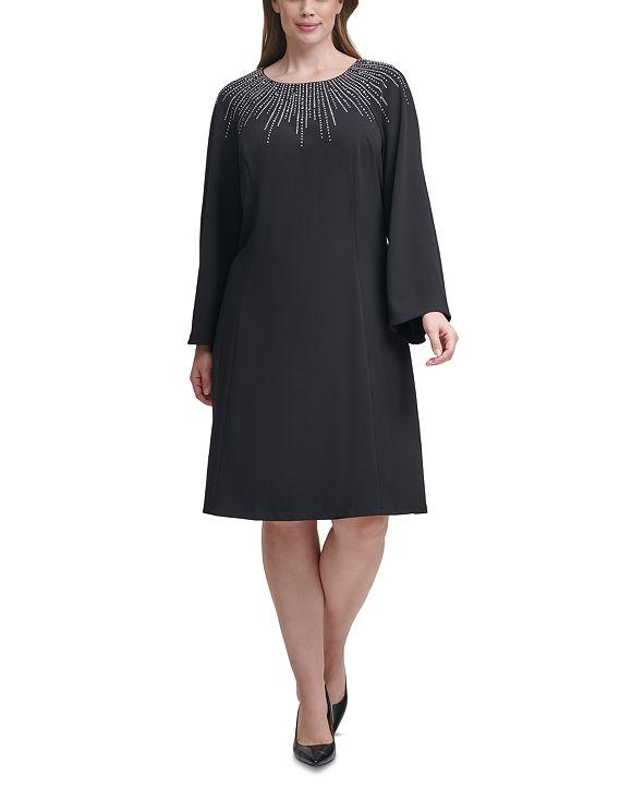 Calvin Klein Plus Size Embellished-Neck Sheath Dress