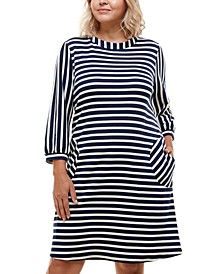 Trendy Plus Size Striped Boat-Neck Shift Dress