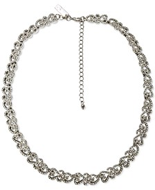 "INC Silver-Tone Crystal Filigree Collar Necklace, 17"" + 3"" extender, Created for Macy's"